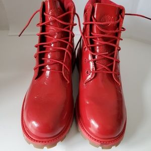 "Girls timberland red patent leather 6"" boots  6.5"